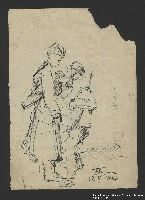 2005.181.132 front Drawing by Alexander Bogen of two partisans standing close together, one lighting the other's cigarette  Click to enlarge