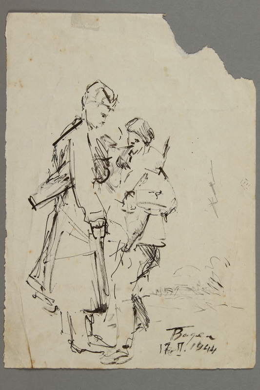 2005.181.132 front Drawing by Alexander Bogen of two partisans standing close together, one lighting the other's cigarette