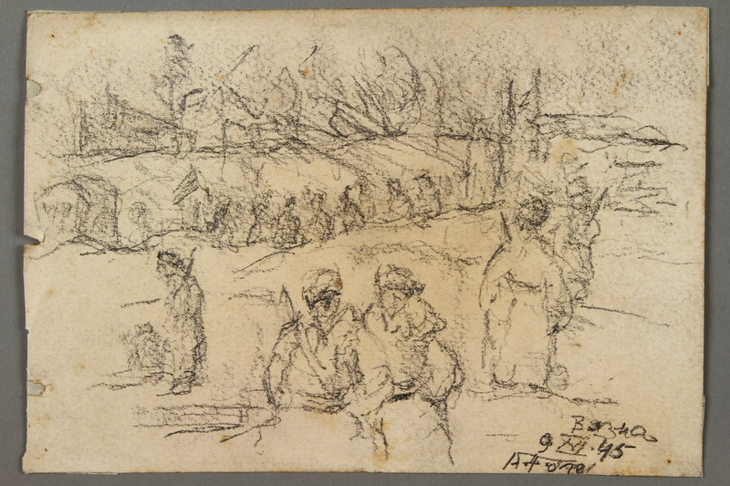 2005.181.133 front Drawing by Alexander Bogen of groupings of partisans in a wood, including a row of partisans with a flag
