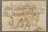 2005.181.133 front Drawing by Alexander Bogen of groupings of partisans in a wood, including a row of partisans with a flag  Click to enlarge