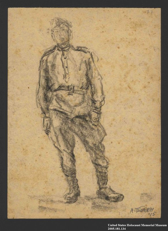 2005.181.134 front Drawing by Alexander Bogen of a partisan standing in uniform