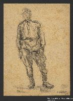 2005.181.134 front Drawing by Alexander Bogen of a partisan standing in uniform  Click to enlarge