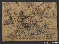 2005.181.135 front Drawing by Alexander Bogen of partisans firing a cannon  Click to enlarge