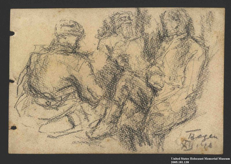2005.181.138 front Drawing by Alexander Bogen of three partisans sitting together