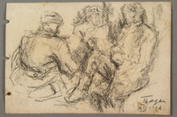 2005.181.138 front Drawing by Alexander Bogen of three partisans sitting together  Click to enlarge
