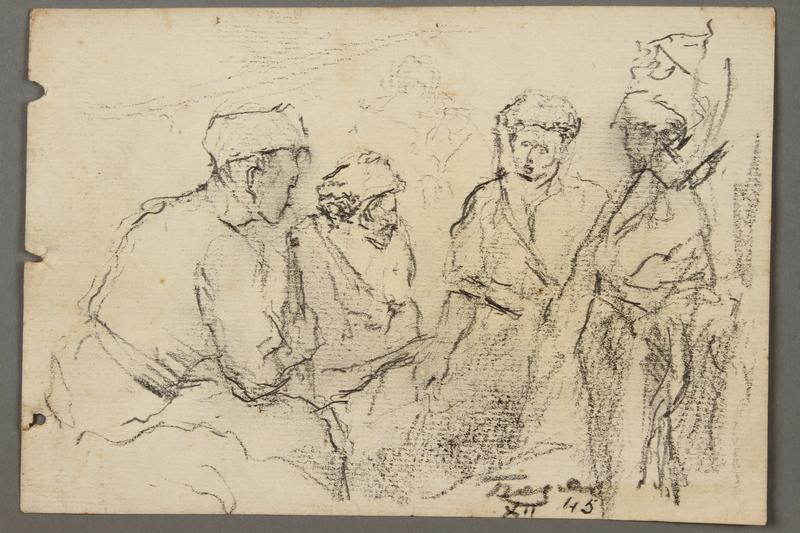 2005.181.139 front Drawing by Alexander Bogen of four partisans sitting together