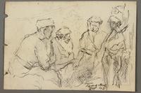 2005.181.139 front Drawing by Alexander Bogen of four partisans sitting together  Click to enlarge