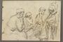 Drawing by Alexander Bogen of four partisans sitting together