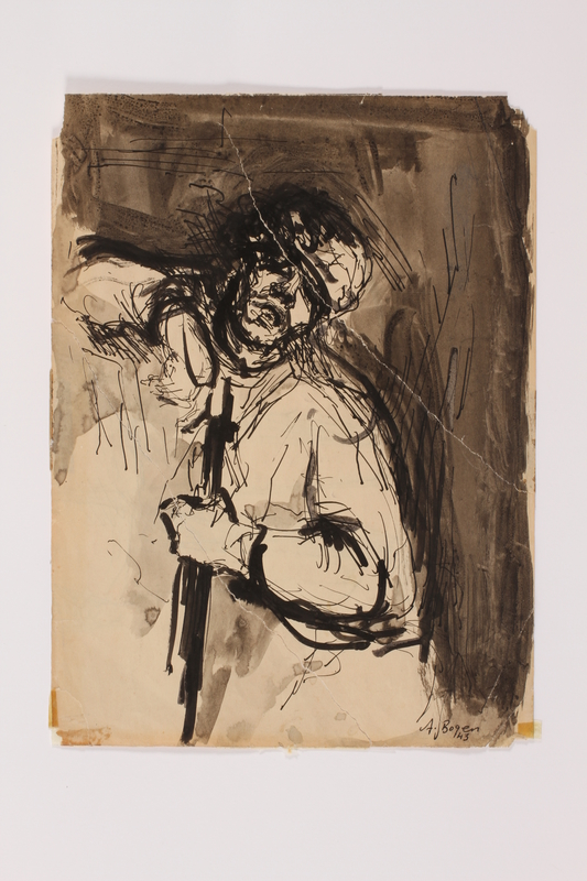 2005.181.140 front Drawing by Alexander Bogen of a partisan sitting with a rifle
