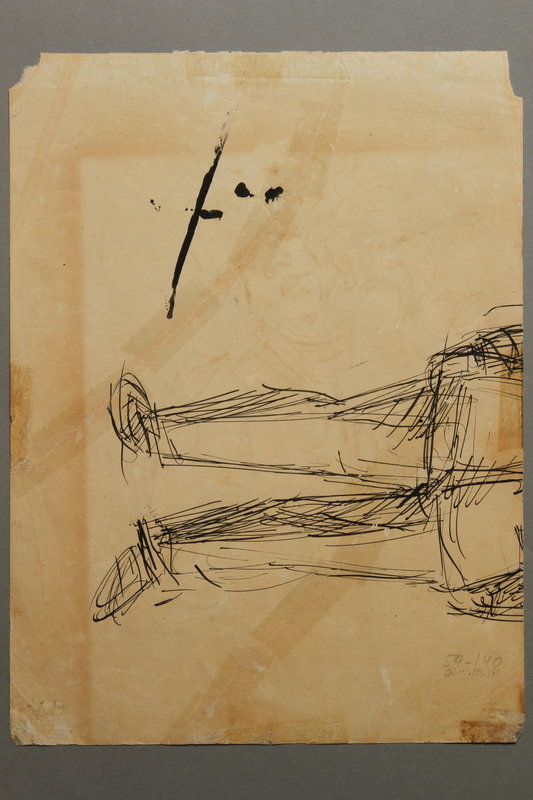 2005.181.140 back Drawing by Alexander Bogen of a partisan sitting with a rifle