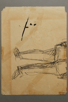 2005.181.140 back Drawing by Alexander Bogen of a partisan sitting with a rifle  Click to enlarge