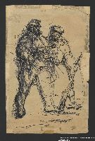 2005.181.141 front Drawing by Alexander Bogen of two armed partisans standing together  Click to enlarge