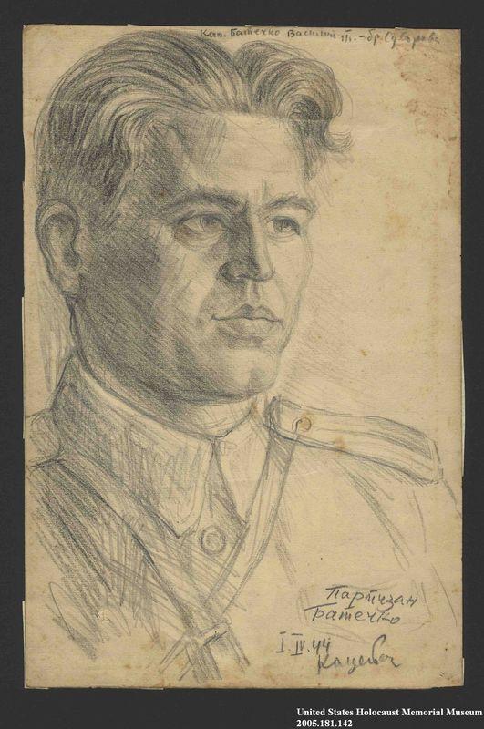 2005.181.142 front Portrait of a partisan in uniform, drawn by Alexander Bogen