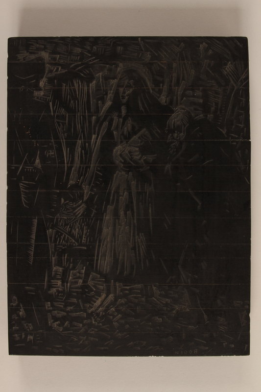 2005.181.144 front Woodblock designed by Alexander Bogen with 2 scenes: a Nazi menacing a group of Jews, and on the back, two soldiers sitting in the forest