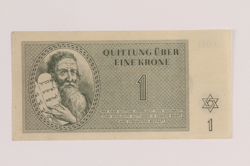 2005.522.1 front Theresienstadt ghetto-labor camp scrip, 1 krone note issued to a German Jewish inmate