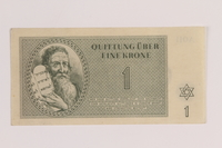 2005.522.1 front Theresienstadt ghetto-labor camp scrip, 1 krone note issued to a German Jewish inmate  Click to enlarge
