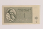 Theresienstadt ghetto-labor camp scrip, 1 krone note issued to a German Jewish inmate