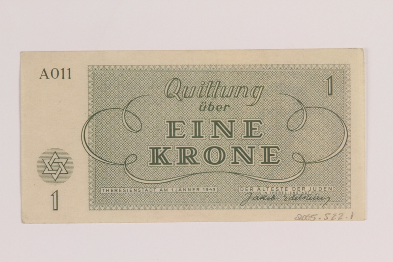 2005.522.1 back Theresienstadt ghetto-labor camp scrip, 1 krone note issued to a German Jewish inmate