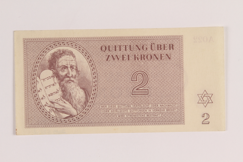 2005.522.2 front Theresienstadt ghetto-labor camp scrip, 2 kronen note, issued to a German Jewish inmate