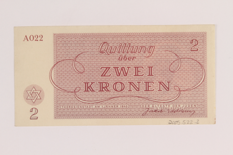 2005.522.2 back Theresienstadt ghetto-labor camp scrip, 2 kronen note, issued to a German Jewish inmate