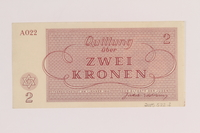 2005.522.2 back Theresienstadt ghetto-labor camp scrip, 2 kronen note, issued to a German Jewish inmate  Click to enlarge