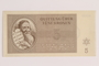 Theresienstadt ghetto-labor camp scrip, 5 kronen note, issued to a German Jewish inmate