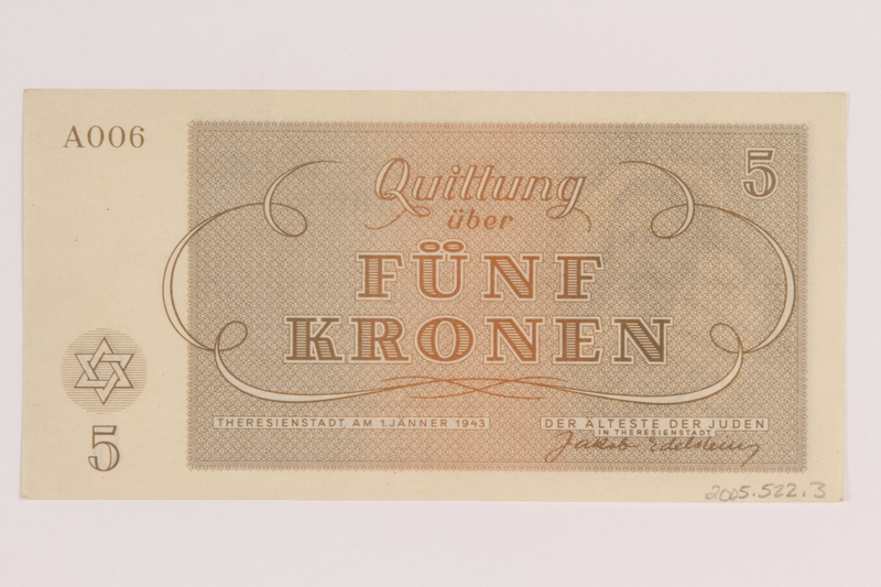 2005.522.3 back Theresienstadt ghetto-labor camp scrip, 5 kronen note, issued to a German Jewish inmate