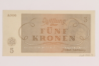 2005.522.3 back Theresienstadt ghetto-labor camp scrip, 5 kronen note, issued to a German Jewish inmate  Click to enlarge