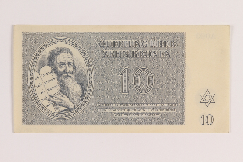 2005.522.4 front Theresienstadt ghetto-labor camp scrip, 10 kronen note, issued to a German Jewish inmate