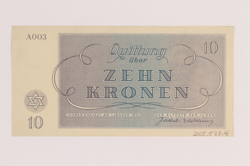 2005.522.4 back Theresienstadt ghetto-labor camp scrip, 10 kronen note, issued to a German Jewish inmate
