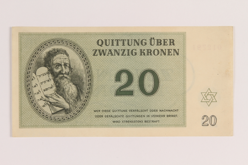 2005.522.5 front Theresienstadt ghetto-labor camp scrip, 20 kronen note, issued to a German Jewish inmate