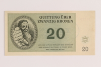 2005.522.5 front Theresienstadt ghetto-labor camp scrip, 20 kronen note, issued to a German Jewish inmate  Click to enlarge