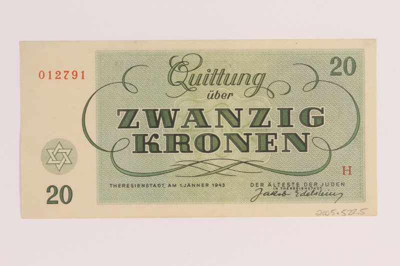2005.522.5 back Theresienstadt ghetto-labor camp scrip, 20 kronen note, issued to a German Jewish inmate