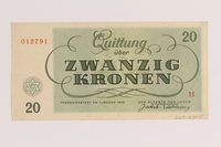 2005.522.5 back Theresienstadt ghetto-labor camp scrip, 20 kronen note, issued to a German Jewish inmate  Click to enlarge