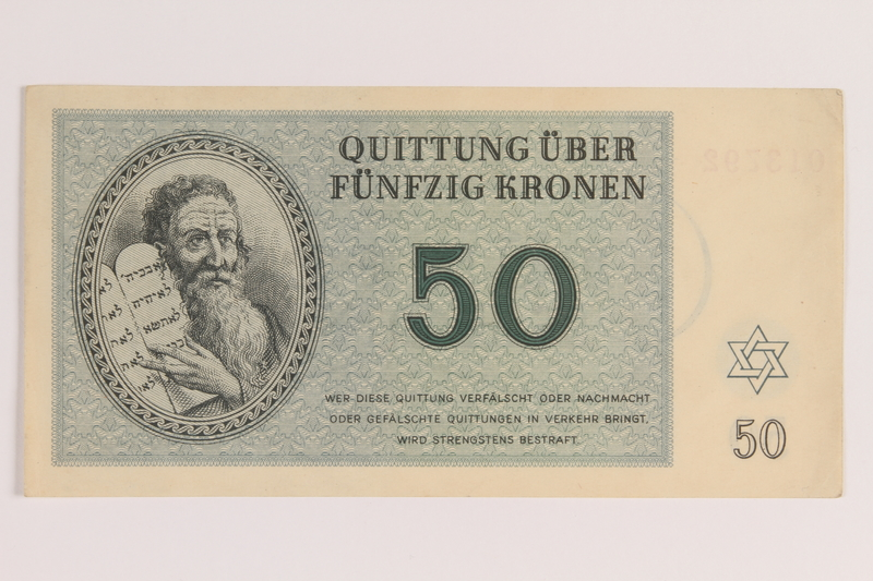 2005.522.6 front Theresienstadt ghetto-labor camp scrip, 50 kronen note, issued to a German Jewish inmate