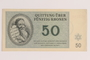 Theresienstadt ghetto-labor camp scrip, 50 kronen note, issued to a German Jewish inmate