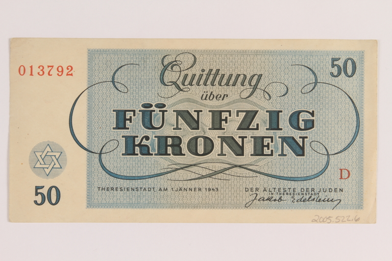 2005.522.6 back Theresienstadt ghetto-labor camp scrip, 50 kronen note, issued to a German Jewish inmate