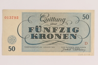2005.522.6 back Theresienstadt ghetto-labor camp scrip, 50 kronen note, issued to a German Jewish inmate  Click to enlarge