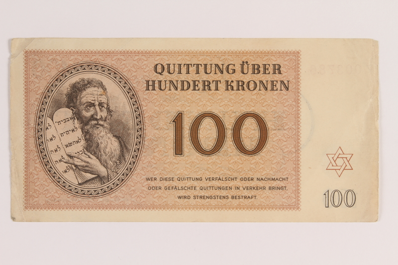 2005.522.7 front Theresienstadt ghetto-labor camp scrip, 100 kronen note, issued to a German Jewish inmate