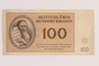 Theresienstadt ghetto-labor camp scrip, 100 kronen note, issued to a German Jewish inmate