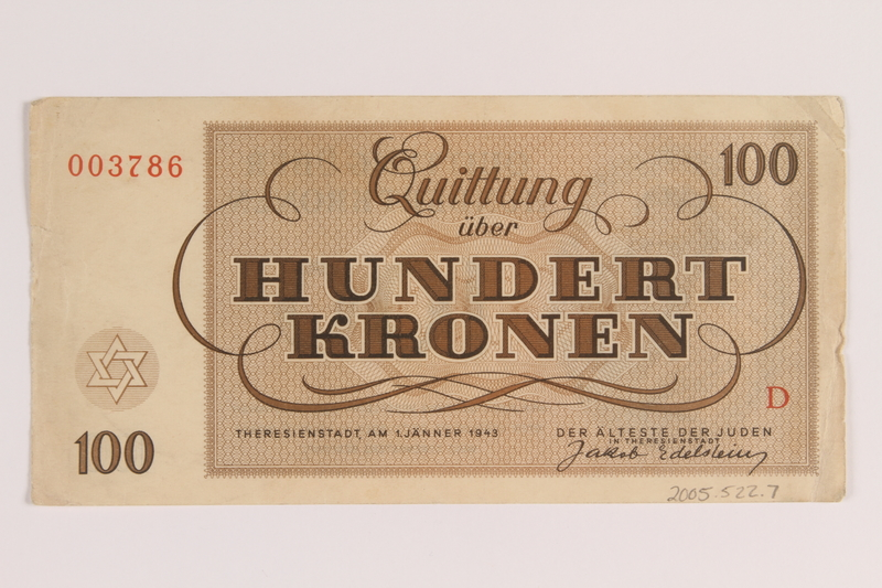 2005.522.7 back Theresienstadt ghetto-labor camp scrip, 100 kronen note, issued to a German Jewish inmate