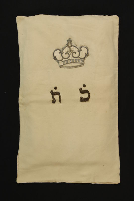 2005.517.4 front Torah mantle with embroidered crown used for Bar Mitzvah at Theresienstadt