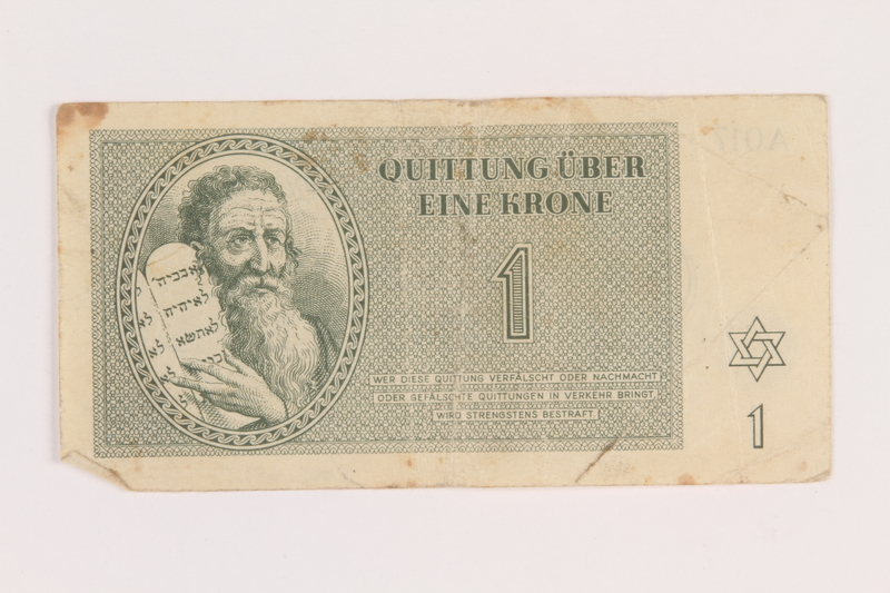 2005.517.5 front Theresienstadt ghetto-labor camp scrip, 1 krone note