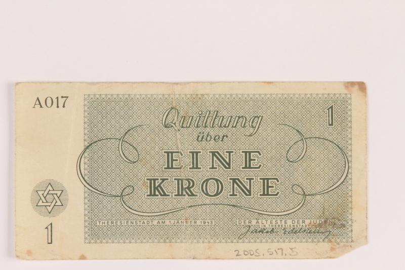 2005.517.5 back Theresienstadt ghetto-labor camp scrip, 1 krone note