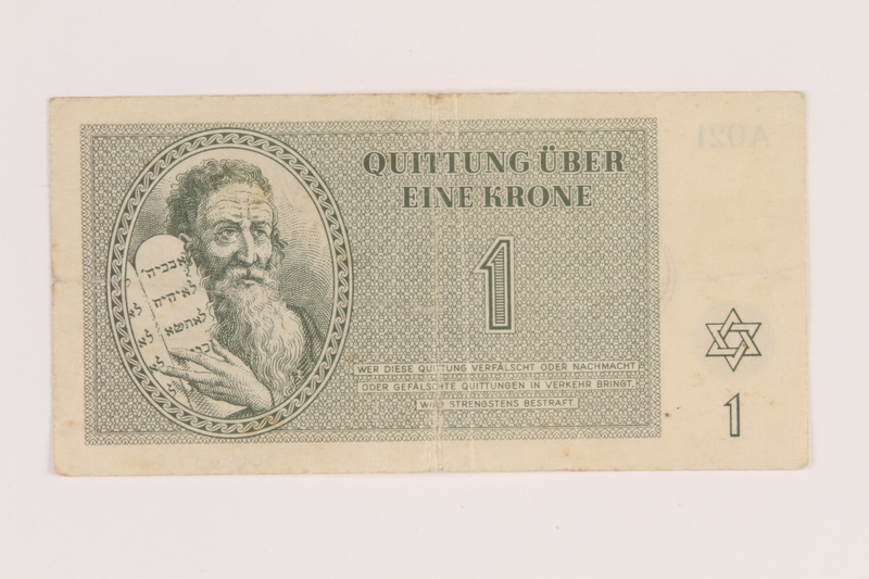 2005.517.6 front Theresienstadt ghetto-labor camp scrip, 1 krone note