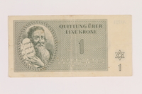 2005.517.6 front Theresienstadt ghetto-labor camp scrip, 1 krone note  Click to enlarge