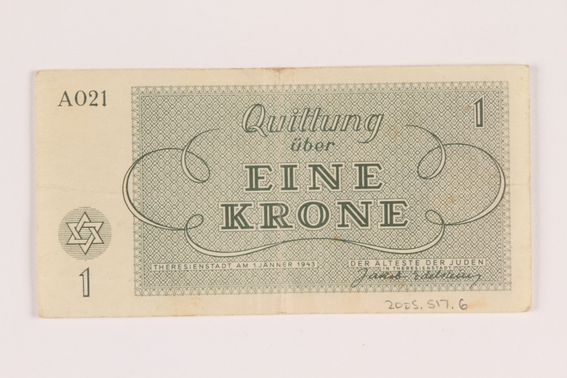 2005.517.6 back Theresienstadt ghetto-labor camp scrip, 1 krone note