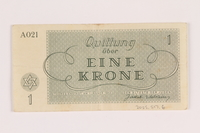 2005.517.6 back Theresienstadt ghetto-labor camp scrip, 1 krone note  Click to enlarge