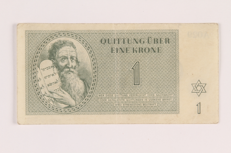 2005.517.7 front Theresienstadt ghetto-labor camp scrip, 1 krone note