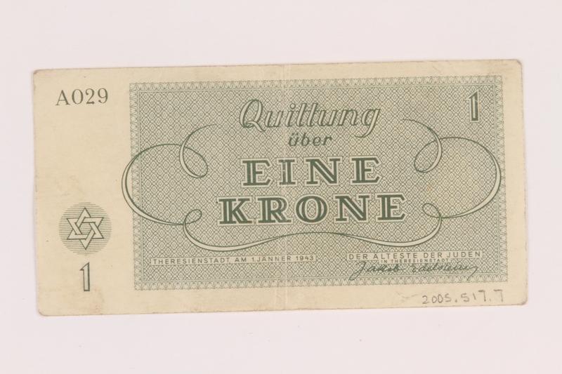 2005.517.7 back Theresienstadt ghetto-labor camp scrip, 1 krone note